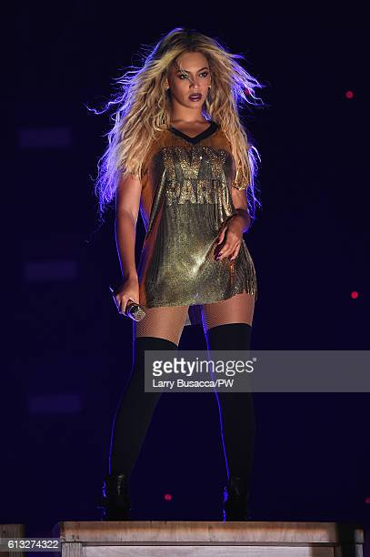 Entertainer Beyonce performs on stage during closing night of The Formation World Tour at MetLife Stadium on October 7 2016 in East Rutherford New...