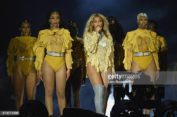 """Entertainer Beyonce performs on stage during closing night of """"The Formation World Tour"""" at MetLife Stadium on October 7, 2016 in East Rutherford,..."""