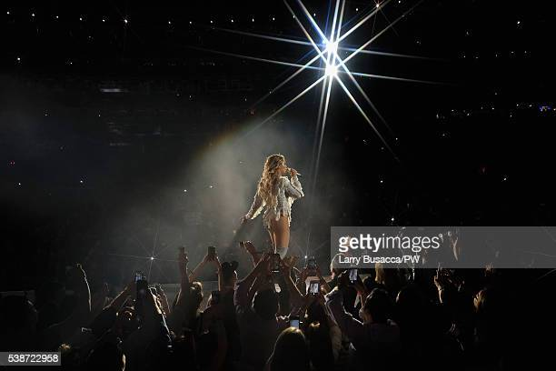 "Entertainer Beyonce performs on stage during ""The Formation World Tour"" at the Citi Field on June 7, 2016 in the Queens borough of New York City."