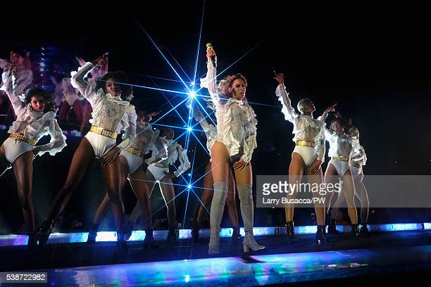 """Entertainer Beyonce performs on stage during """"The Formation World Tour"""" at the Citi Field on June 7, 2016 in the Queens borough of New York City."""