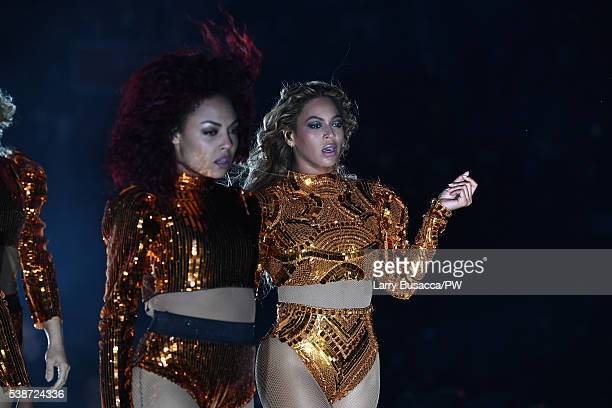 Entertainer Beyonce performs on stage during The Formation World Tour at the Citi Field on June 7 2016 in the Queens borough of New York City