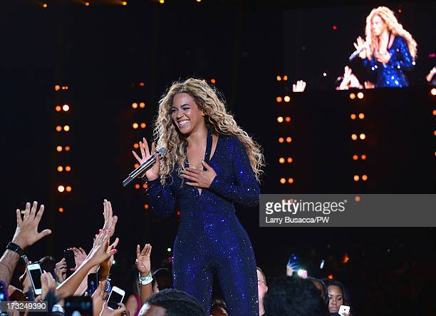 Entertainer Beyonce performs on stage during The Mrs Carter Show World Tour at the American Airlines Arena on July 10 2013 in Miami Florida Beyonce...