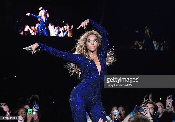 Entertainer Beyonce performs on stage during 'The Mrs Carter Show World Tour' at the American Airlines Arena on July 10 2013 in Miami Florida Beyonce...