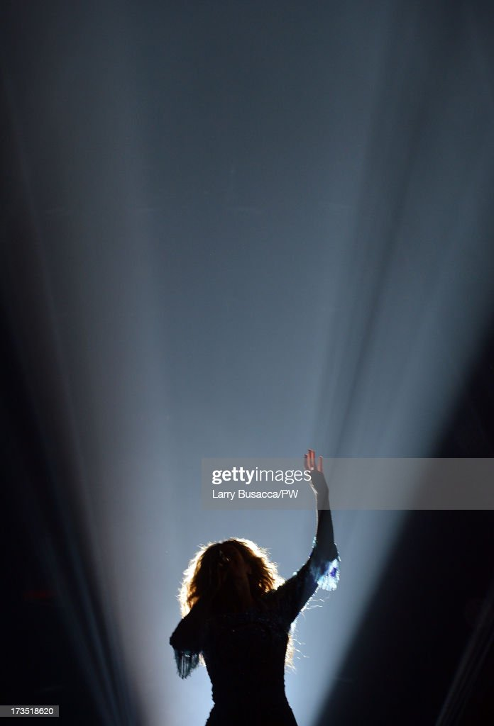Entertainer Beyonce performs on stage during 'The Mrs. Carter Show World Tour' at the Toyota Center on July 15, 2013 in Houston, Texas.