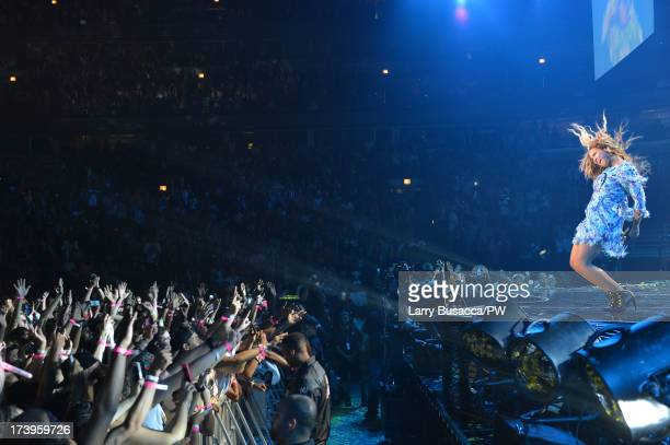 Entertainer Beyonce performs on stage during 'The Mrs Carter Show World Tour' at the United Center on July 17 2013 in Chicago Illinois Beyonce wears...
