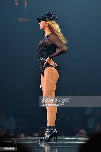 Entertainer Beyonce performs on stage during 'The Mrs Carter Show World Tour' at the Izod Center on July 31 2013 in East Rutherford New Jersey...