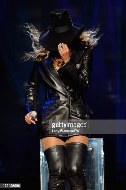 Entertainer Beyonce performs on stage during 'The Mrs Carter Show World Tour' at the Mohegan Sun Arena on August 2 2013 in Uncasville Connecticut...