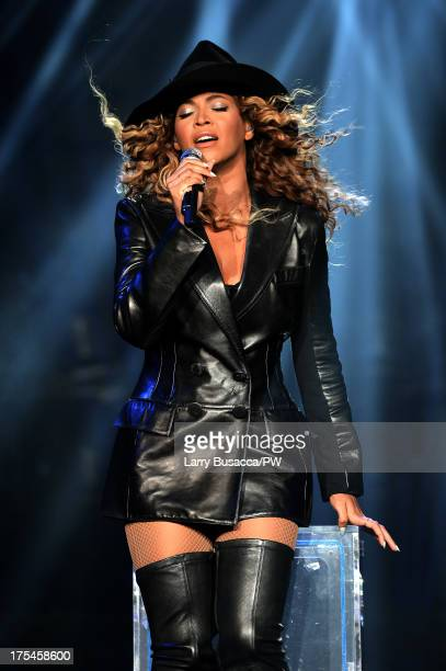 Entertainer Beyonce performs on stage during The Mrs Carter Show World Tour at the Mohegan Sun Arena on August 2 2013 in Uncasville Connecticut...