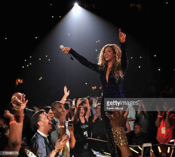 Entertainer Beyonce performs on stage during 'The Mrs Carter Show World Tour' at the Barclays Center on August 3 2013 in New York New York Beyonce...