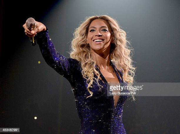 "Entertainer Beyonce performs on stage during ""The Mrs. Carter Show World Tour"" at the Staples Center on December 3, 2013 in Los Angeles, California."
