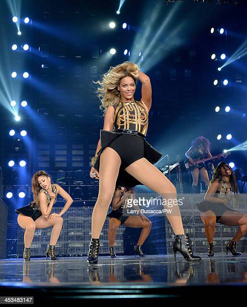 Entertainer Beyonce performs on stage during 'The Mrs Carter Show World Tour' at the Staples Center on December 3 2013 in Los Angeles California