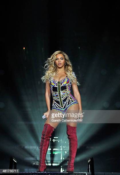 Entertainer Beyonce performs on stage during The Mrs Carter Show World Tour at the O2 Arena on March 6 2014 in London England