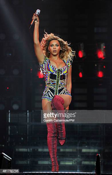 Entertainer Beyonce performs on stage during 'The Mrs Carter Show World Tour' at the O2 Arena on March 6 2014 in London England