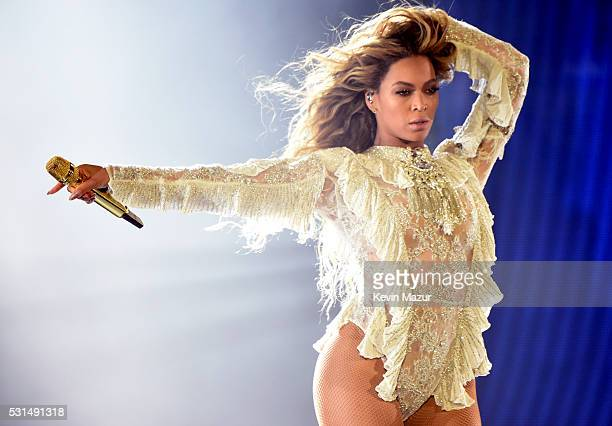"Entertainer Beyonce performs onstage during ""The Formation World Tour"" at the Rose Bowl on May 14, 2016 in Pasadena, California."