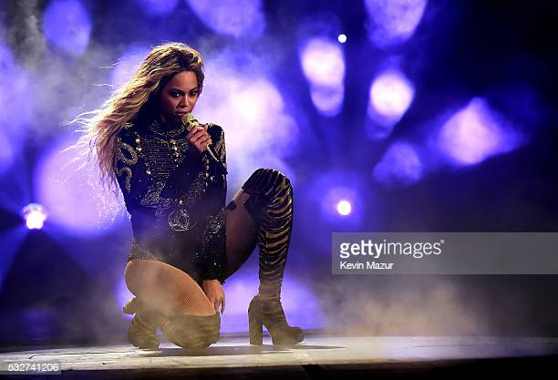 Entertainer Beyonce performs onstage during 'The Formation World Tour' at the Rose Bowl on May 14 2016 in Pasadena California