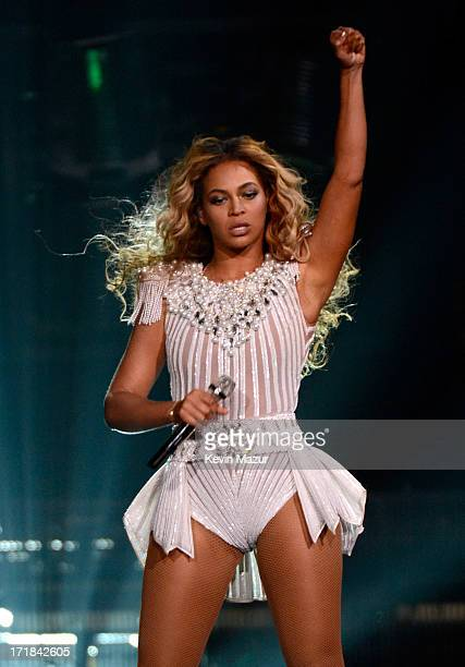 Entertainer Beyonce performs onstage during the North American opening night of 'The Mrs Carter Show World Tour' held at the Staples Center on June...