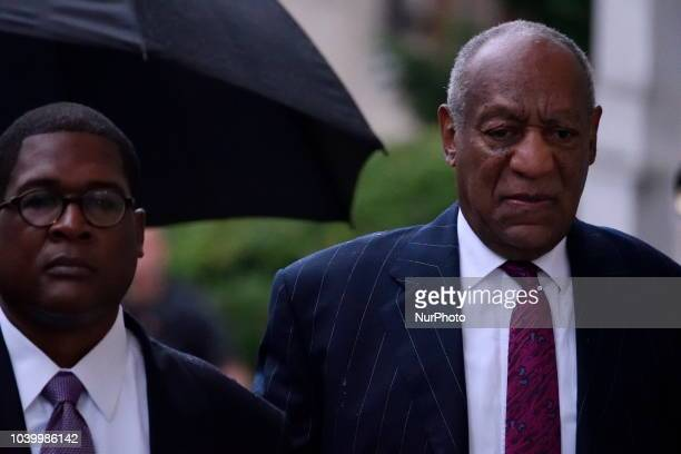 US Entertainer Bill Cosby arrives for a scenting hearing in Norristown PA on September 25 2018 Cosby appears before Judge Steven O'Neil after a jury...