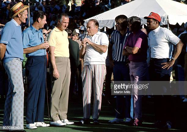 Entertainer Bob Hope and William Holden interview Vice President Spiro Agnew as actor Chuck Connors Country musician Glen Campbell golfer Doug...