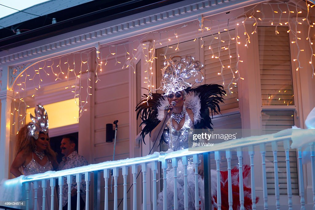 Entertainer 'Buckwheat' officially turns on the Franklin Road lights in Ponsonby on December 1, 2015 in Auckland, New Zealand. It is the 22nd year Franklin Road residents have decorated their houses with lights for the Christmas season.