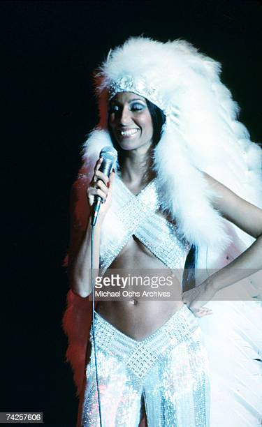Entertainer Cher performs onstage at the Rock Music Awards at the Santa Monica Civic Auditorium on August 9 1975 in Los Angeles California