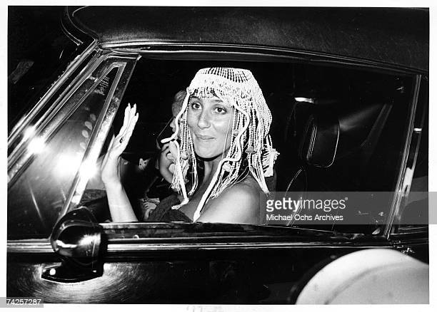 Entertainer Cher spotted wearing a headdress in circa 1972