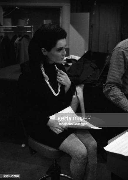 Entertainer Connie Francis records in the studio with Dick Gersh with Koppelman and Rubin on December 17 1966 in New York