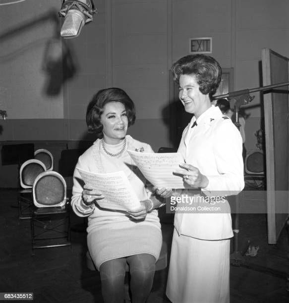 Entertainer Connie Francis with a nurse at NBC Central Studio A on May 31 1966 in New York