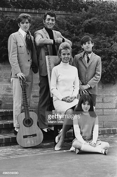 Entertainer Dean Martin with his wife Jeanne and children pose for a family portrait in 1966 in Los Angeles California