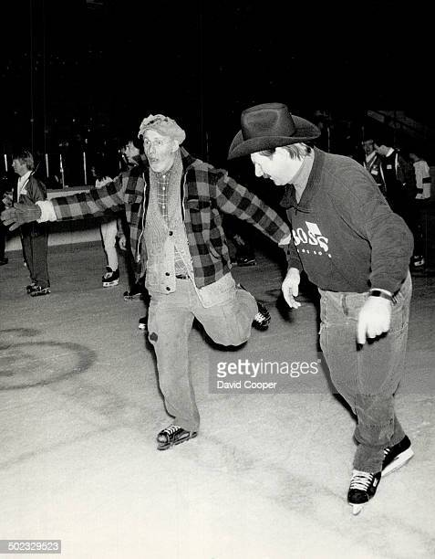Entertainer Don Harron and exLeaf Eddie Shack top left were among those on tap at Maple Leaf Gardens yesterday for the annual Bobby Orr Skateathon...