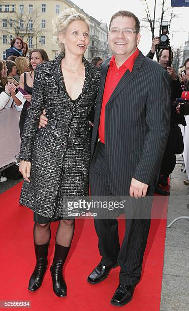 Entertainer Elton whoe real name is Alexander Duszat and his wife Yvonne arrive for the premiere of the musical 3 Musketiere April 6 2005 in Berlin...