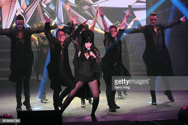Entertainer Elvira aka Cassandra Peterson performs in her new show 'Danse Macabre' at Knott's Berry Farm on September 22 2016 in Buena Park California