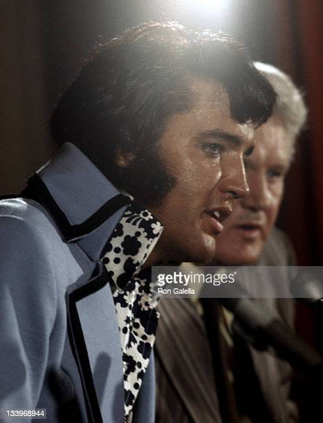 Entertainer Elvis Presley gives a press conference for his three day concert at Madison Square Garden on June 9 1972 at New York Hilton Hotel in New...