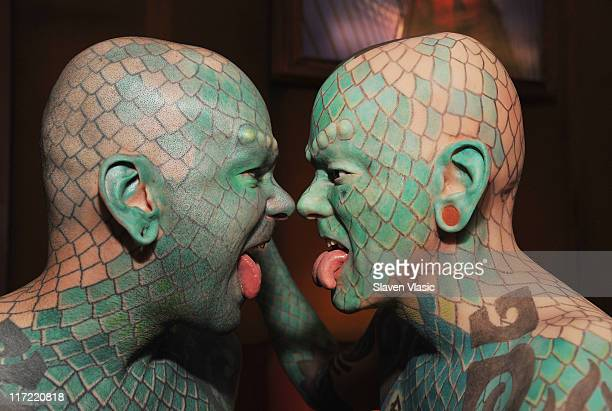 Entertainer Erik The Lizardman Sprague attends the Lizardman wax figure unveiling at the Ripley's Believe It or Not Odditorium on June 24 2011 in New...