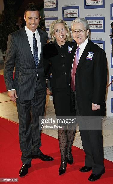 Entertainer Frank Elstner and his wife Britta Gessler with Kai Pflaume attend the German Media Award on January 24, 2006 in Baden-Baden, Germany. The...
