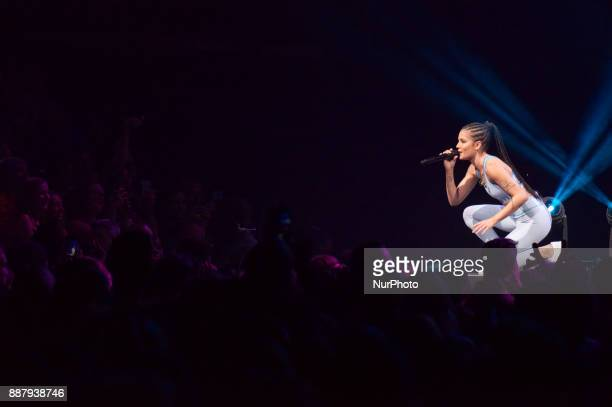 US entertainer Halsey performs onstage during the Q102's iHeartRadio Jingle Ball 2017 at the Wells Fargo Center in Philadelphia PA on December 6 2017