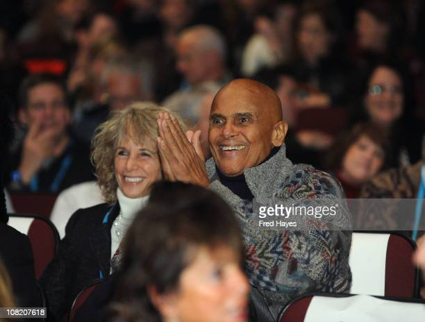 Entertainer Harry Belafonte and Pamela Belafonte attend Sing Your Song Premiere at the Egyptian Theatre during the 2011 Sundance Film Festival on...
