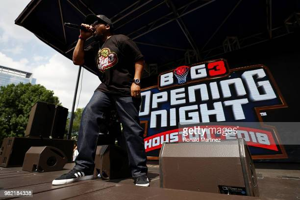 Entertainer Ice Cube performs during week one of the BIG3 three on three basketball league at Toyota Center on June 22 2018 in Houston Texas