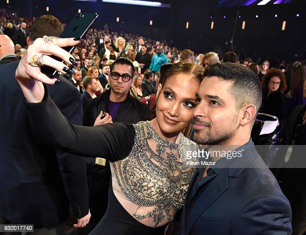 Entertainer Jennifer Lopez and actor Wilmer Valderrama onstage during the People's Choice Awards 2017 at Microsoft Theater on January 18 2017 in Los...