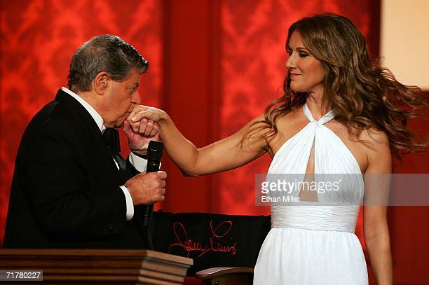 Entertainer Jerry Lewis greets singer Celine Dion after she performed at the 41st annual Labor Day Telethon to benefit the Muscular Dystrophy...