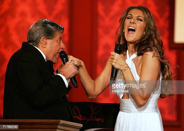 Entertainer Jerry Lewis jokes with singer Celine Dion after she performed at the 41st annual Labor Day Telethon to benefit the Muscular Dystrophy...