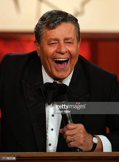 Entertainer Jerry Lewis laughs during the 41st annual Labor Day Telethon to benefit the Muscular Dystrophy Association at the South Coast Hotel...