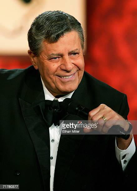 Entertainer Jerry Lewis smiles during the 41st annual Labor Day Telethon to benefit the Muscular Dystrophy Association at the South Coast Hotel...