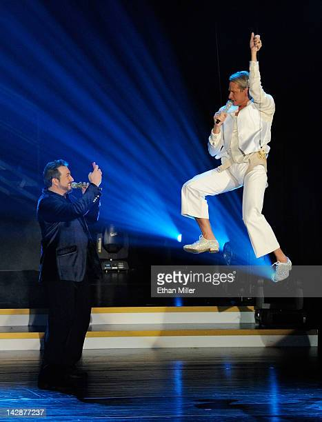 Entertainer Joey Fatone and television personality Carson Kressley perform during the grand opening of Dancing With the Stars Live in Las Vegas at...