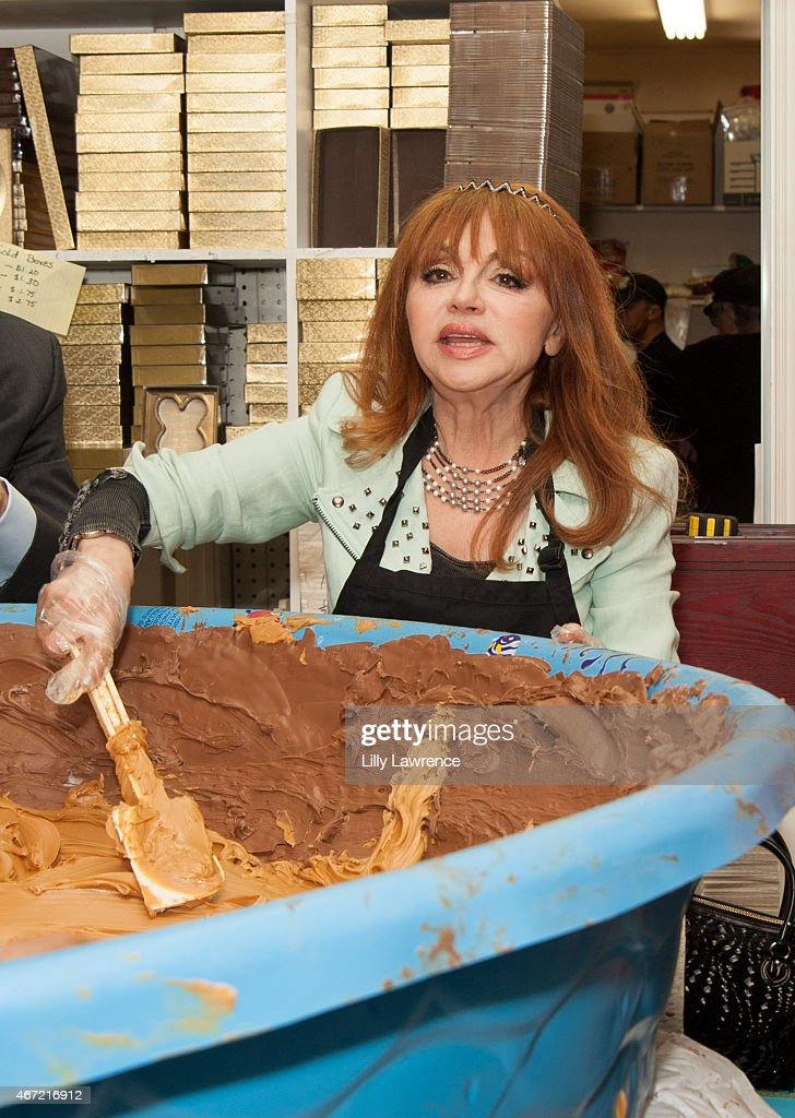 Entertainer Judy Tenuta helps The Candy Factory attempt World Record for The World's Largest Peanut Butter Cup at The Candy Factory on March 21, 2015 in North Hollywood, California.