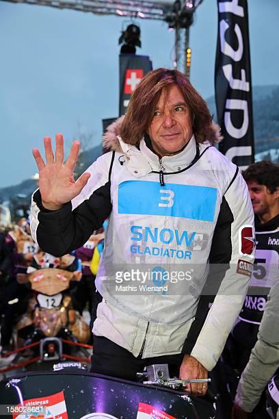 Entertainer Juergen Drews attends the Snow Mobile Race 2012 on December 8 2012 in SaalbachHinterglemm Austria
