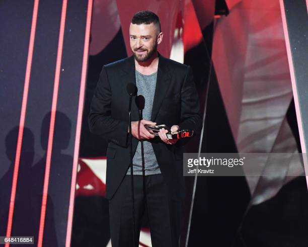 Entertainer Justin Timberlake accepts the award for Song of the Year for 'Can't Stop the Feeling' onstage at the 2017 iHeartRadio Music Awards which...