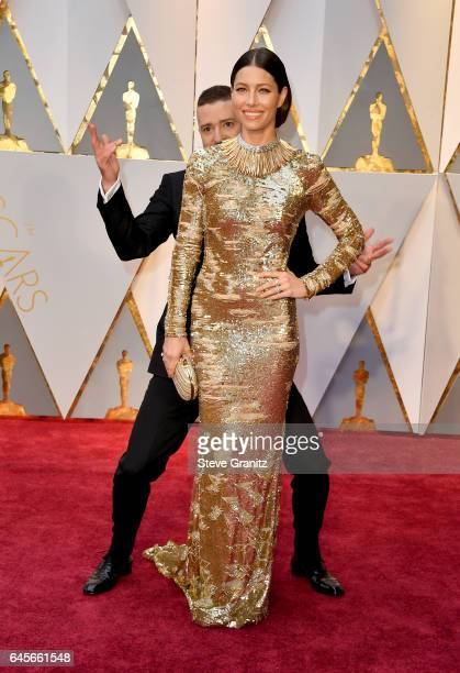 Entertainer Justin Timberlake photobombs actor Jessica Biel before the 89th Annual Academy Awards at Hollywood Highland Center on February 26 2017 in...