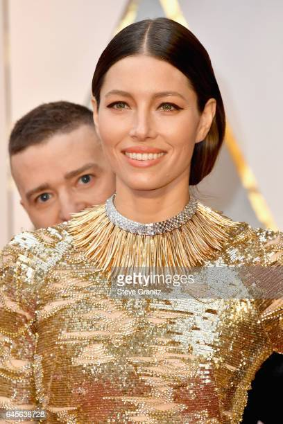 Entertainer Justin Timberlake photobombs actor Jessica Biel during the 89th Annual Academy Awards at Hollywood Highland Center on February 26 2017 in...