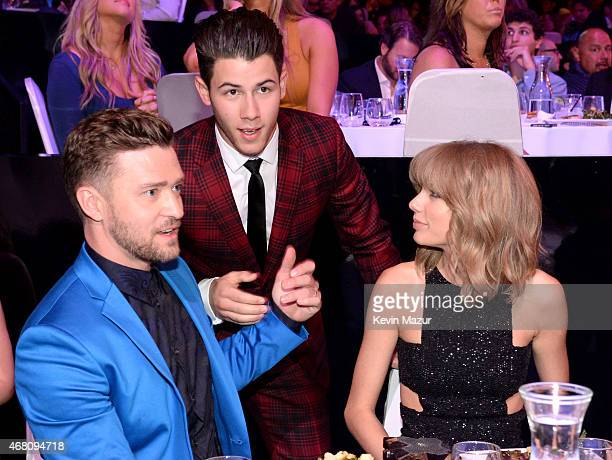 Entertainer Justin Timberlake, singer Nick Jonas and singer Taylor Swfit attend the 2015 iHeartRadio Music Awards which broadcasted live on NBC from...