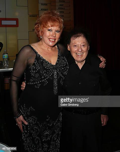 Entertainer Karon Kate Blackwell and her husband actor/comedian Marty Allen attend a meet and greet after Allen's performance at the Downtown Grand...